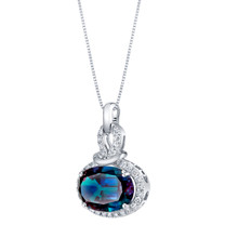 14K White Gold Created Alexandrite and Lab Grown Diamond Pendant 7.96 carats total