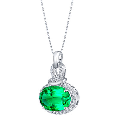 14K White Gold Created Colombian Emerald and Lab Grown Diamond Pendant 5.96 carats total