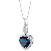 14K White Gold Created Alexandrite and Lab Grown Diamond Pendant 4.86 carats total Heart Shape