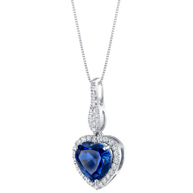14K White Gold Created Sapphire and Lab Grown Diamond Pendant 5.36 carats total Heart Shape