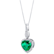 14K White Gold Created Colombian Emerald and Lab Grown Diamond Pendant 3.61 carats total Heart Shape