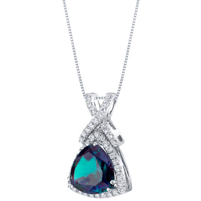 14K White Gold Created Alexandrite and Lab Grown Diamond Pendant 6.52 carats total Trillion Cut