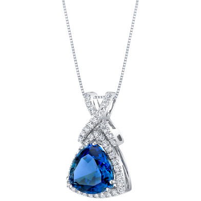 14K White Gold Created Sapphire and Lab Grown Diamond Pendant 6.77 carats total Trillion Cut