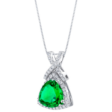 14K White Gold Created Colombian Emerald and Lab Grown Diamond Pendant 4.77 carats total Trillion Cut
