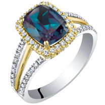 14K Gold Created Alexandrite and Lab Grown Diamond Two-Tone Ring 3.19 carats total Cushion Cut