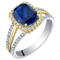14K Gold Created Sapphire and Lab Grown Diamond Two-Tone Ring 3.44 carats total Cushion Cut