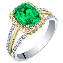 14K Gold Created Colombian Emerald and Lab Grown Diamond Two-Tone Ring 2.44 carats total Cushion Cut