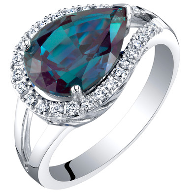 14K White Gold Created Alexandrite and Lab Grown Diamond Ring 4.02 carats total Pear Shape
