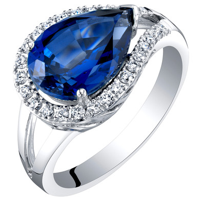 14K White Gold Created Sapphire and Lab Grown Diamond Ring 4.27 carats total Pear Shape