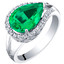 14K White Gold Created Colombian Emerald and Lab Grown Diamond Ring 3.02 carats total Pear Shape