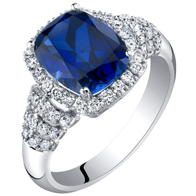14K White Gold Created Sapphire and Lab Grown Diamond Ring 4.79 carats total Cushion Cut