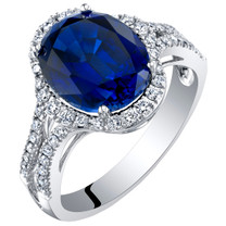 14K White Gold Created Sapphire and Lab Grown Diamond Ring 5.68 carats total Oval Shape