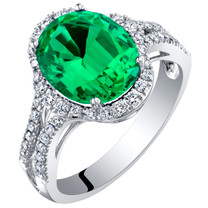14K White Gold Created Colombian Emerald and Lab Grown Diamond Ring 3.93 carats total Oval Shape