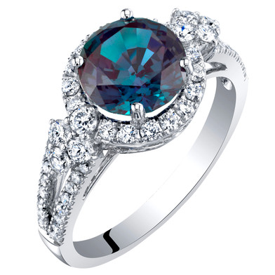 14K White Gold Created Alexandrite and Lab Grown Diamond Ring 3.11 carats total Round Shape