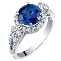14K White Gold Created Sapphire and Lab Grown Diamond Ring 3.61 carats total Round Shape