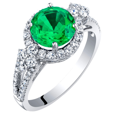 14K White Gold Created Colombian Emerald and Lab Grown Diamond Ring 2.61 carats total Round Shape