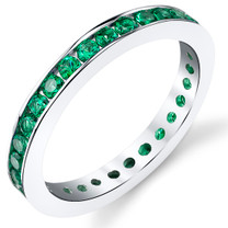 Emerald Ring Sterling Silver Round Shape 1.5 Carats
