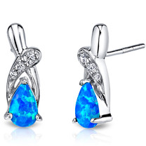 Created Blue Opal Ribbon Earrings Sterling Silver 1.00 Carats