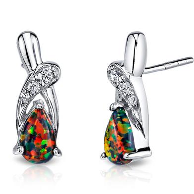 Created Black Opal Ribbon Earrings Sterling Silver 1.00 Carats