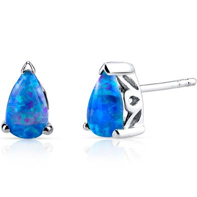 Created Blue Opal Tear Drop Stud Earrings Sterling Silver 1.00 Carats