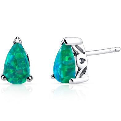 Created Green Opal Tear Drop Stud Earrings Sterling Silver 1.00 Carats