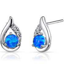 Created Blue Opal Earrings Sterling Silver Round Cabochon
