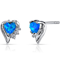 Created Blue Opal Sweetheart Earrings Sterling Silver Heart Shape