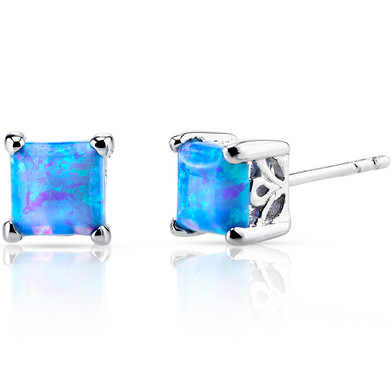 Created Powder Blue Opal Princess Cut Stud Earrings Sterling Silver 1.25 Carats