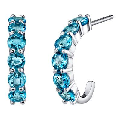 Sterling Silver Swiss Blue Topaz J-Hoop Earrings 2.75 Carats