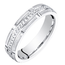 Womens 14K White Gold 4mm Textured Wedding Anniversary Ring Band Sizes 4 to 9