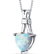 Created Opal Heart Pendant Necklace Sterling Silver 1.50 Carats