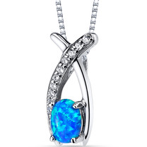 Created Blue Opal Ichthus Pendant Necklace Sterling Silver