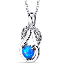 Created Blue Opal Infinity Knot Pendant Necklace Sterling Silver