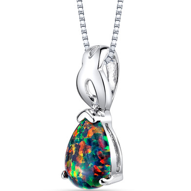 Created Black Opal Poire Pendant Necklace Sterling Silver 1.00 Carat
