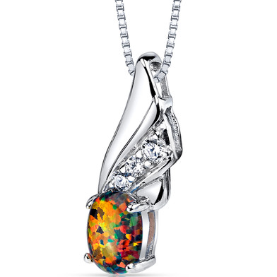 Created Black Opal Angel Wing Pendant Necklace Sterling Silver
