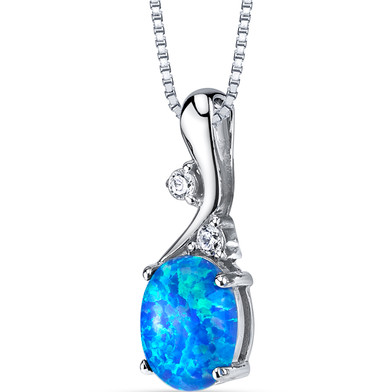Created Blue Opal Posy Pendant Necklace Sterling Silver 1.75 Carats