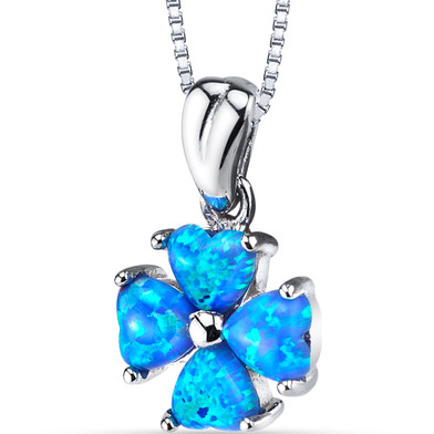 Created Blue Opal Lucky Hearts Pendant Necklace Sterling Silver 1.50 Carats