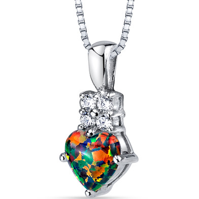 Created Black Opal Heartlight Pendant Necklace Sterling Silver 1.00 Carats