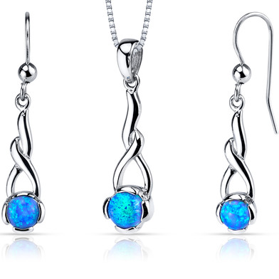 Created Blue Opal Helix Pendant Earrings Necklace Sterling Silver 2.00 Carats