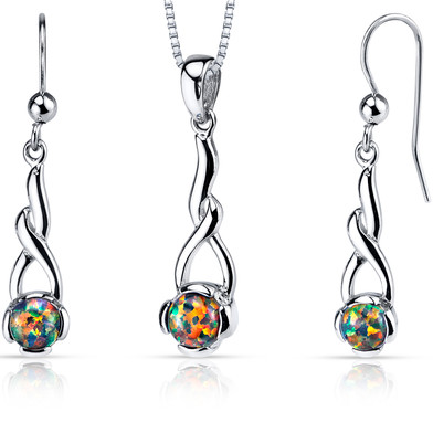 Created Black Opal Helix Pendant Earrings Necklace Sterling Silver 2.00 Carats
