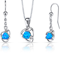 Created Blue Opal Lily Pendant Earrings Necklace Sterling Silver 2.00 Carats