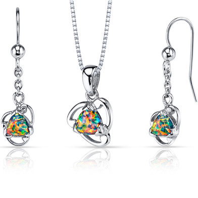 Created Black Opal Lily Pendant Earrings Necklace Sterling Silver 2.00 Carats