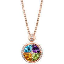 3.75 carats Multicolor Gemstone Quattro Rose-tone Pendant Necklace Sterling Silver