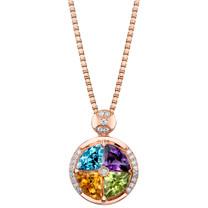 3.75 carats Multicolor Gemstone Quattro Rose-tone Pendant Necklace Sterling Silver