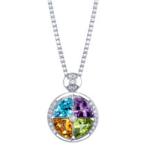 3.75 carats Multicolor Gemstone Quattro Pendant Necklace Sterling Silver