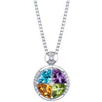 3.75 carats Multicolor Gemstone Quattro Pendant Necklace Sterling Silver