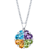 5.00 carats Multicolor Gemstone Chevron Pendant Necklace Sterling Silver