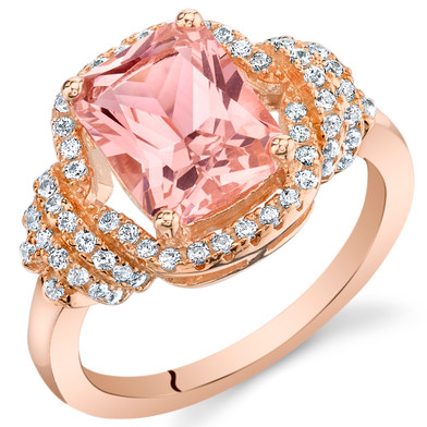 2.75 Carats Simulated Morganite Rose-Tone Sterling Silver Cocktail Ring