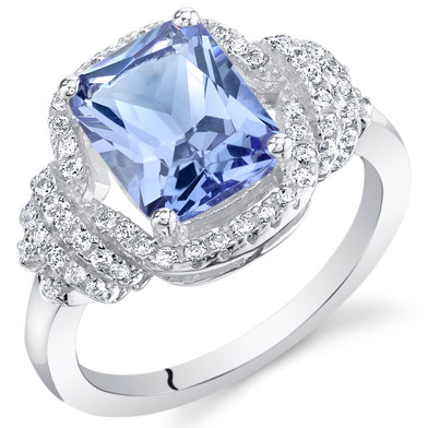 2.75 Carats Simulated Tanzanite Sterling Silver Cocktail Ring