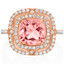 3.75 Carats Simulated Morganite Rose-Tone Sterling Silver Double Halo Ring